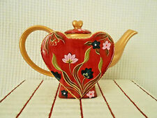 Jameson & Tailor Germany 3 Cup Heart Shaped Red Floral Teapot & Lid Set New