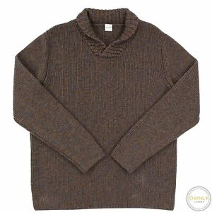 Eidos Napoli Harmony Brown Marled Wool Thick Ribbed Knit Piped Shawl Sweater M