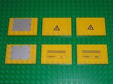 6 x LEGO technic Yellow Tile 6180 + Stickers / set 7632 Crawler Crane