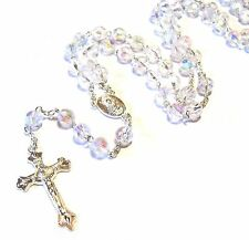Silver Plated Crystal Clear Glass Rosary Necklace