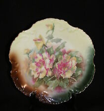 Vintage Marseille Z. S. & Co Bavaria Art Pottery Plate 1880-1910 Yellow Roses