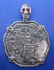 Sterling Silver SPANISH SHIPWRECK COIN PENDANT Piece of 8 Skull Doubloon