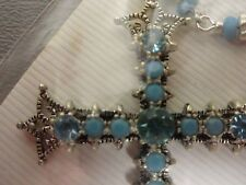 Cross Necklace Fashion Jewelry pretty blue stones 2 1/4 by 1 3/4""