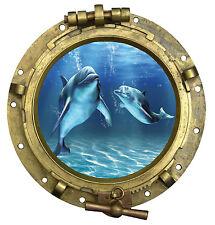 Sticker hublot trompe l'oeil Dauphins vue sous marine 60x60cm