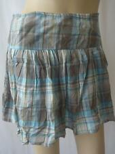 BNWT NEW Ladies Brown/Blue Checked 100% Cotton Lined Mini Short Skirt UK 8 EU 36
