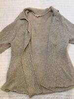 Eileen Fisher Womens Short Sleeve Open Front Cardigan Sweater Beige Size XL