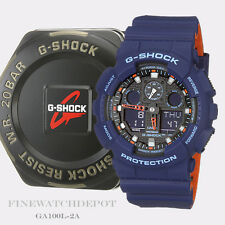 Authentic Casio G-Shock Ana-Digital Men's Blue & Orange Watch GA100L-2A
