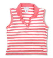 JG Hook Womens Coral White Sleeveless Striped Polo Shirt Size Medium