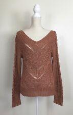 Ralph Lauren Hand Knit Linen Crochet Top Sweater Size S