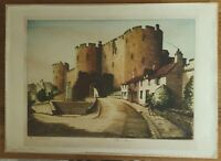 Pembroke Castle - John Lewis Stant (1931-1955) Early 20th Century Colour Etching
