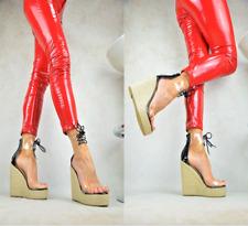 Designer LACK Damenschuhe Sexy-Plateau High Heels XXL Keilabsatz Party Pumps
