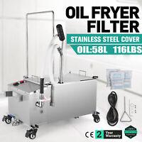 58L Fryer Oil Filter Machine 116lb Oil Capacity 15.3 gal w/ Stainless Steel Lid