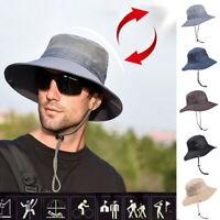 UK Men's Wide Brim Sun Hat, Outdoor Sunscreen Waterproof Bucket Mesh Boonie Hat