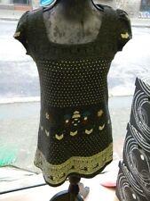 robe courte GRISE sans manche DESSIN encolure taille38 propre