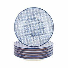 Patterned Dessert Side Wedding Porcelain Kitchen Plates - Blue Flower - 18cm x6