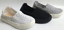 NEW Kid Girls LINK Amar12K Silver Black White Basket Weave stretch Slip On Shoes
