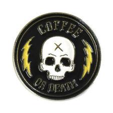 Coffee Or Death Enamel Pin Lapel Brooch Caffeine Lover Skull