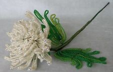 """Vintage handmade French Beaded Flower. Cream frosted aster 11"""", two-tone leaves"""