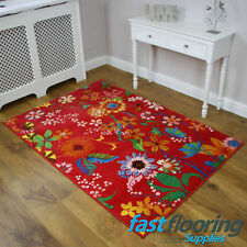 View (5 D85 R) Red Floral Rug *1.20 x 1.70* Lounge - Summer House *RRP £89*