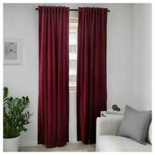 """IKEA SANELA ROOM DARKENING CURTAINS 2 PANEL 1 Pair Dark Red 55"""" x 118"""" BLACKOUT"""