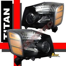 Black Housing Headlights For 04-07 Nissan Titan XE SE & Armada RH & LH