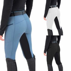 Women Lady Horse Riding Leggings Tights High Waist Pocket Grip Equestrian Pants