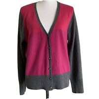 Apt.9 women's Cardigan Sweater Pure Cashmere Pink and Gray Color Block Size XL