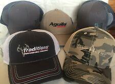 BASEBALL CAPS (5) HUNTING GUNS SHOOT NEW CampChef, Aguila, Hornady, Traditions
