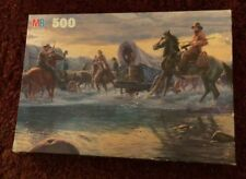 MB Puzzle Frontier Days Crossing the River 500 Piece Puzzle from 1992