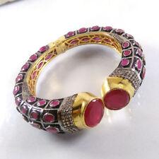 Indian Designer AVENTURINE & RUBY Gemstone Gold Plated Cuff Bangle Bracelet.
