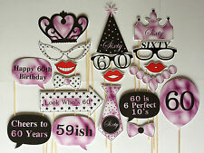 19 Piece Photo Booth Prop Set - Female 60th Birthday Party - Aust Made