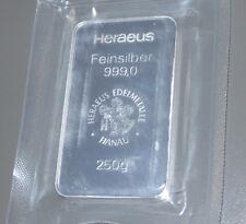 HERAEUS 250g (250 GRAMS) FINE SILVER BULLION BAR (NOT GOLD) SEALED