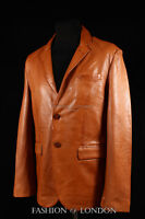 Uomo Milano marrone slavato pelle d'agnello 2 bottoni alla moda stile classico,