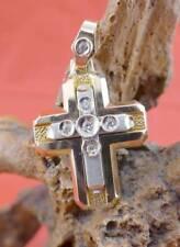 Zeitloser Brillant Kreuz Anhänger in 585 Weißgold und Gelbgold