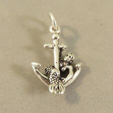 .925 Sterling Silver 3-D MERMAID WITH ANCHOR CHARM NEW Pendant Nautical 925 NT81