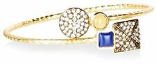 "Blossom Box Gold Tone Lemon Quartz Lapis CZ 7"" Adjustable Bangle Bracelet NWT"