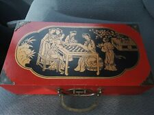 Oriental Asian Chinese Chess Set Chess Set Wood Box Hand Crafted Painted VINTAGE