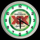 """16"""" Retro Dos Equis Lager Beer Sign Green Neon Wall Clock Man Cave Game Room"""