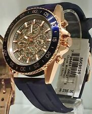 NWT MICHAEL KORS Jetmaster Automatic Navy Blue & Rose Gold Men's Watch MK9025