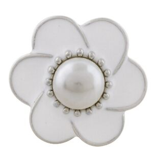 White Enamel Pearl Flower 18mm 20mm Snap Charm Button For Ginger Snaps Jewelry