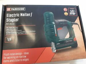 PARKSIDE ELECTRIC NAILER STAPLER PET 25 C3 30BPM, WITH 500 STAPLES/500 NAILS NEW