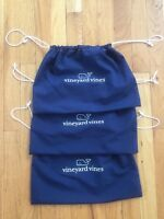 New Vineyard Vines Whale Navy Drawstring Cloth Gift Bag Lot of 3