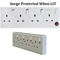 Converter socket converts single & double sockets to 4 gang switched wall outlet