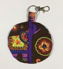Earbud fabric storage case, 4x4, with zipper and clasp, PURPLE Elephant