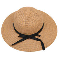 High Quality Women Ladies Chic Wide Large Brim Summer Beach Sun Cap Straw L1B8