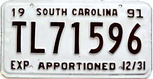1991 South Carolina Apportioned plate # TL71596