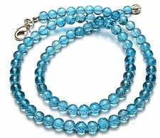 """NATURAL GEM SWISS COLOR BLUE TOPAZ FACETED ROUND BEADS NECKLACE 121CTS. 17"""""""