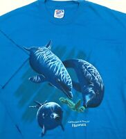 Hanes Beefy-T Mens XL Blue Sea World Dolphins VTG TShirt Extinction Is Forever