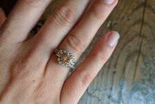Art deco 1.01 ct halo round brilliant fancy brown-yellow diamond engagement ring