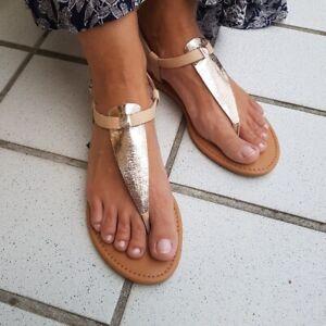 TOMMY JEANS Damen SANDALEN Zehentrenner METALLIC FLAT THONG SANDAL Shoes Schuhe